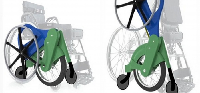 The manual standing wheelchair