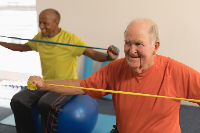 Elastic band exercises for elderly people
