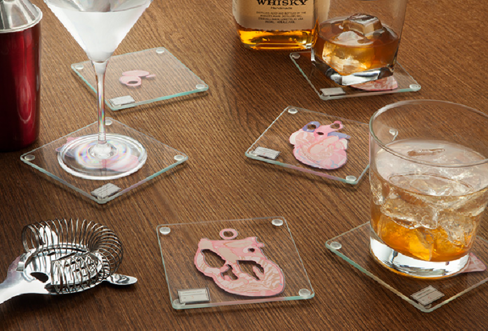 Coasters with an anatomical twist
