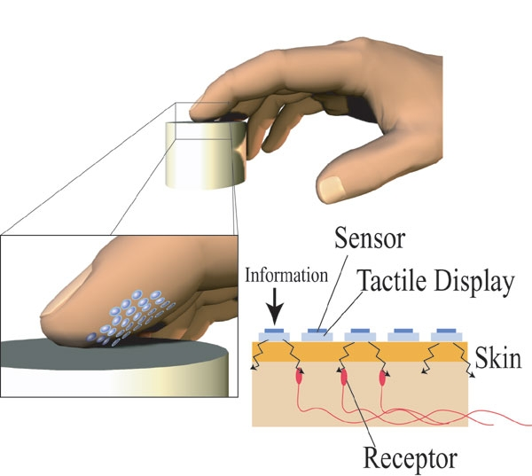 Tactile sensation in prosthetic fingers